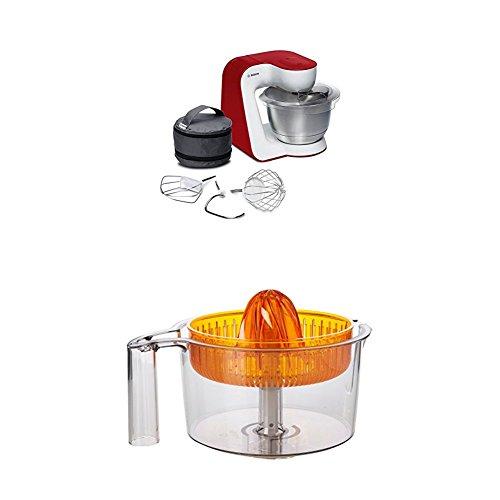 Bosch MUM54R00 Küchenmaschine StartLine Edelstahl-Rührschüssel, 3D Rührsystem, 7 Schaltstufen, 3,9 L, 900 W, tiefrot + Zitruspresse transparent mit orangem Presskegel