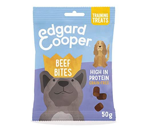 Edgard & Cooper Snack Naturale per Cani, Gustosi Bocconcini di Manzo 50g Senza Cereali, Premietti con Fragola e Mango, Ricchi di Proteine, Confezione Biodegradabile