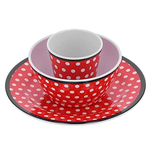 GAESHOW - Juego de Taza para Plato de Frutas, Juego de vajilla con patrón de Puntos Rojos, Accesorio de Cocina para el hogar