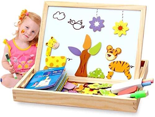 Magnetisches Puzzle Holz Tier Reise Staffelei Dry Erase Tafel Spielzeug für Kinder Phantasie