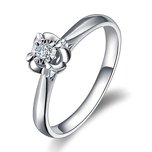 Amody Anillo de Oro Blanco 18K, Anillo Mujer Boda Flor con Diamante 0.35ct Tamaño 20