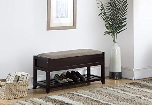 Roundhill Furniture Rouen Espresso Seating Bench with Shoe Storage,