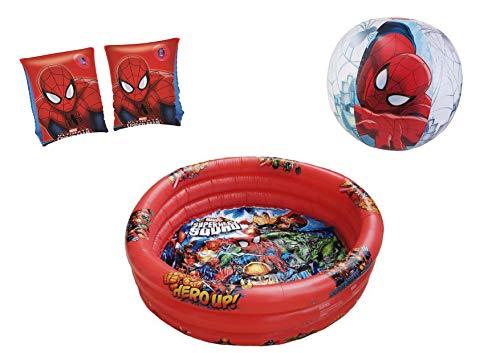JOVAL® -Pack Piscina refrescante Infantil Superheroes Marvel de 90x30 centímetros de diámetro, con Manguitos y Pelota incluidos. del Personaje Spiderman para Jardin terraza o casa ✅