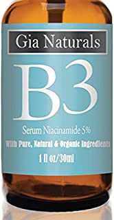 Pure, Organic, Natural Vitamin B3 Serum Cream Niacinamide 5%. 1 or 2 oz. Anti-Aging, Repairs Skin, Reduces Wrinkles, Evens Tone, Fights Acne, Smaller Pores, Boosts Collagen, Made in USA, Cruelty Free
