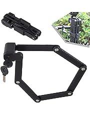 Folding Bike Lock, Heavy Duty Alloy Steel Bike Chain Lock for MTB Road Bike Foldable LockAnti-Theft Strong Security Bicycle Folding Lock with Storage, Black