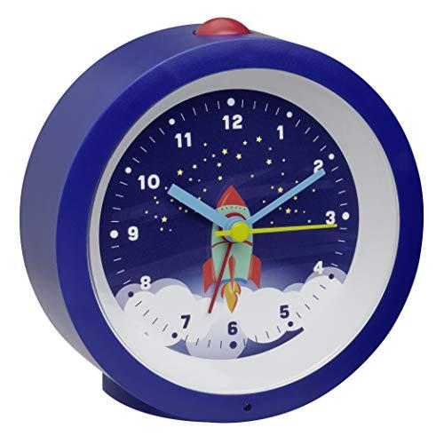 TFA Dostmann Analoger Wecker für Kinder, 60.1033.06, mit Raketenmotiv, Astronaut, mit leisem Uhrwerk, blau, (L) 105 x (B) 41 x (H) 105 mm