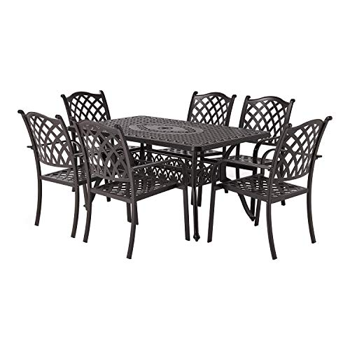 Laurel Canyon Outdoor Patio Dining Set, 7 Piece Cast Aluminum Furniture, 6 Stackable Chairs, 36' x 60' Rectangular Table with 1.97' Umbrella Hole for Yard Garden Deck, Dark Brown