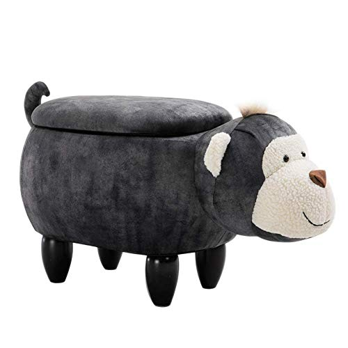 XIAO WEI Storage Stool with Removable Cover Padded Ride-on Toy seat with Lively Monkey Shape for Children and Adults Interchangeable Shoes - Black