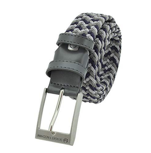 Sergio Tacchini Cintura Elastica Intrecciata, Uomo Donna, Con Inserti in Vera Pelle, Scatola Regalo Grigio e Blu 125
