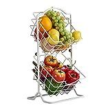 Portafrutta da Tavolo, Cesto di Frutta in Metallo, 2 Ripiani Porta Frutta e Verdura per Cucina