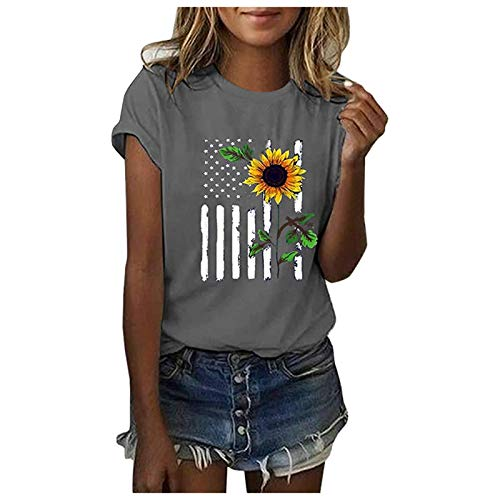 Womens Tshirts, Womens 4th of July Summer Tops Short Sleeve Tee Shirts Casual Loose Sunflower Print Blouse Tops Gray