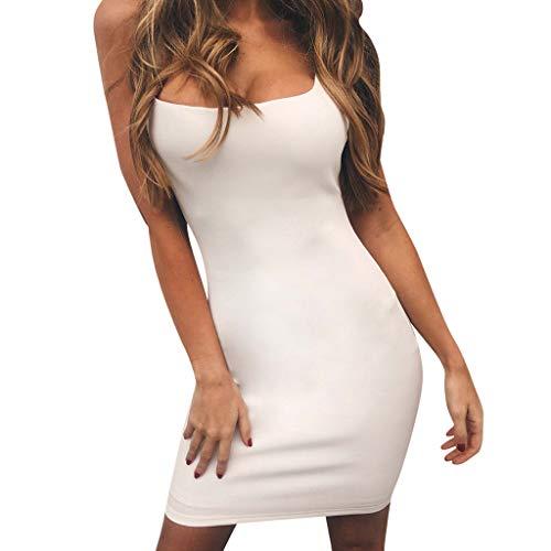 KIMODO Bekleidung Partykleider Minikleider Damen Unterkleid Shapewear Lässiges Einfarbiges Schlankes Ärmellos Hosenträgerkleid Abendkleid Cocktailkleid (A-Weiß, M)