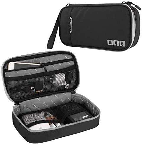 Acoki Travel Carry Bag,Double Layer Electronic Accessories Thicken Cable Organizer Bag Portable Case for Hard Drives, Cables,Kindle, iPad Mini-Black(L)