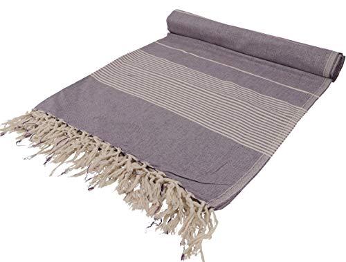 Guru-Shop Weiche Gewebte Double Tagesdecke `Kerala` aus Baumwolle mit Fransen - Violett, 260x210 cm, Bettüberwurf, Sofa Überwurf