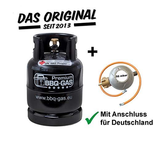 Preisvergleich Produktbild CAGO Premium BBQ Gasflasche 8kg ungefüllt im Set mit Gasregler 50 mbar und Gasschlauch 100 cm für Grill Unterschrank Campingkocher Gaskocher