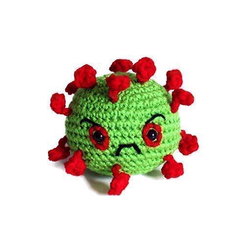 Geekirumi! handmade crochet amigurumi coronavirus stress ball - Squeeze toy anti anxiety therapy - Green