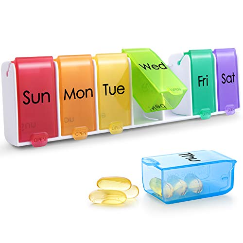 Weekly Pill Organizer, Quick-Refill Daily Pill Case,Upgraded Removable XL Pill Box,7 Day Medicine Organizer for Fish Oil,Capsules,Vitamins and Supplement-Rainbow