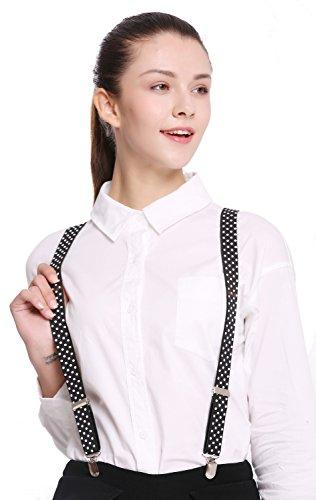 Dress Me Up - BB-022-black Hosenträger Suspenders Karneval Halloween schwarz weiße Punkte