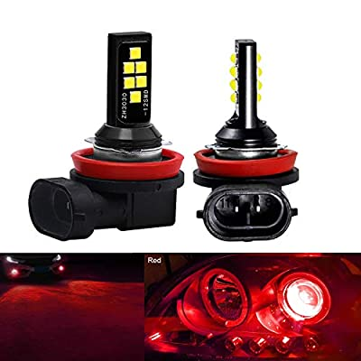 SOCAL-LED LIGHTING 2x H11 H8 LED Fog Light Bulb Advanced 3030 SMD Bright Colorful Daytime Running DRL Lamp, Red