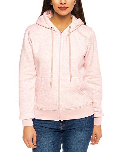 Crazy Age Cooler Zip Hoodie Kapuzenjacke Sweatjacke aus hochwertigen Baumwollmischung (Rosa (2908), XXL~42)