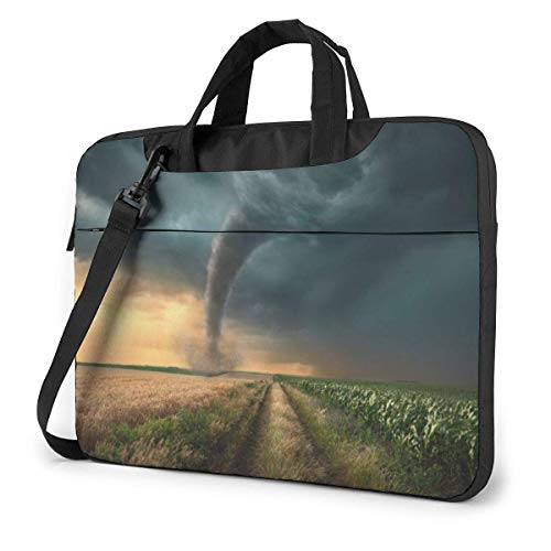Laptop Shoulder Bag Carrying Laptop Case 14 Inch, Tornado in Field Computer Sleeve Cover with Handle, Business Briefcase Protective Bag for Ultrabook, MacBook, Asus, Samsung, Sony, Notebook
