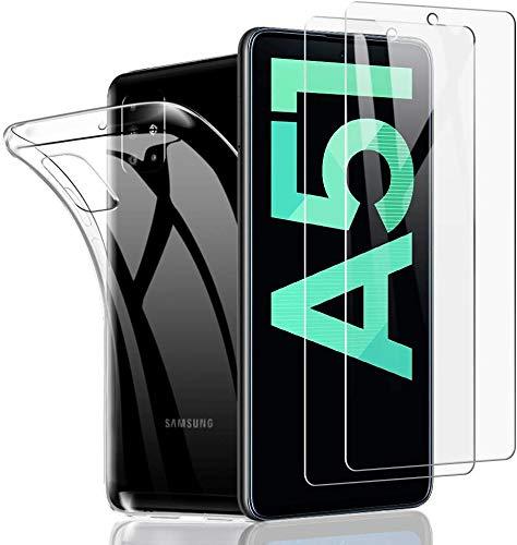 SHINEZONE [2 Stück+Hülle Panzerglas und Handyhülle für Samsung Galaxy A51 [9H] Härte Schutzfolie Kratzenfest Ölbeständig und Blasenfrei Handy Shutzfolie für Samsung Galaxy A51