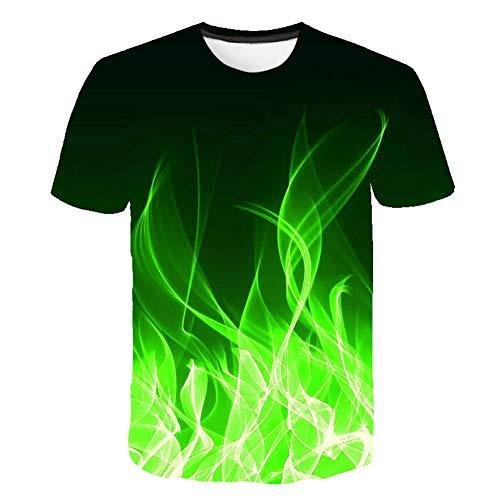 Herren-T-Shirt mit Rundhalsausschnitt, blau, grün, orange, lila, Flammen-Design, Digitaler 3D-Druck, leger geschnitten, Größe S-6XL XXL Grün 2
