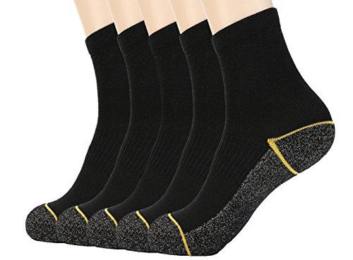 Kupfer Antibakterielle Athletische Socken f¨¹r M?nner und Frauen-Feuchtigkeits-Docht, rutschfeste Kissen Kn?chelsocken, Schwarz/Gelb-5 Pairs, Shoe M:34-44 EUR