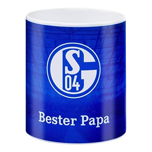 FC Schalke 04 Tasse - Bester Papa - Kaffeetasse königsblau, Kaffeebecher S04 - Plus Lesezeichen I Love Gelsenkirchen