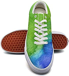 LadyGay Watercolor Rainbow Paper Canvas Shoes Low-Cut Straps Unique Sneakers Suitable for Walking