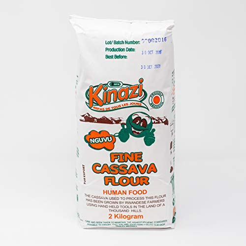 Farine de manioc fine 2kg | Kinazi | Farine de manioc sans gluten | Cultivé et transformé au Rwanda | Convient aux coeliaques