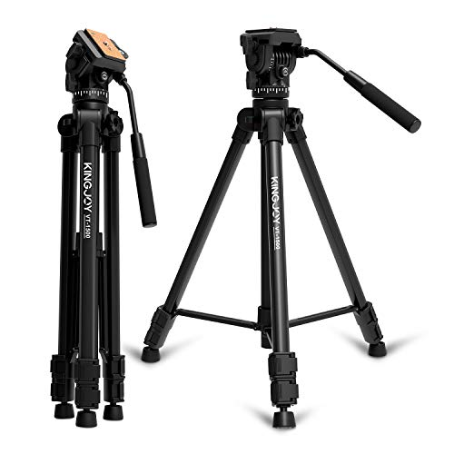 KINGJOY Video Tripod with Fluid Head, 65 inch Aluminum Video Camera Tripod with Fluid Pan Drag Head, Mid-Level Spreader, Compatible for DSLR Nikon Canon Camcorder DV with Carry Bag, VT-1500