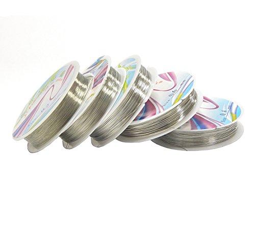 Silber Kupferdraht 5 Rollen Set 0,6/0,5/0,4/0,3/0,2 mm Lackdraht Basteldraht Schmuckdraht Perlendraht Silberdraht Kupfer Draht Bastelschnur Kupferfaden Schmuckband