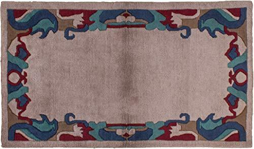 Teppich Tibeter Modern ca. 90 x 165 cm Grau handgeknüpft Schurwolle Modern hochwertiger Teppich