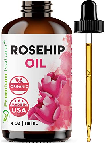 Organic Rosehip Seed Carrier Oil - 4 oz Pure Cold Pressed Unrefined Rose Hip Serum for Face Hair Nails 100% Natural Skin Care Moisturizer Packaging May Vary
