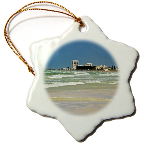 3dRose USA, Florida, Sarasota, Crescent Beach, Siesta Key - US10 BFR0130 - Bernard Friel - Snowflake Ornament, 3-inch (orn_143610_1)