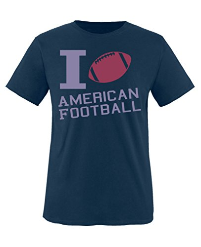 Comedy Shirts - I Love American Football - Mädchen T-Shirt - Navy/Violett-Fuchsia Gr. 152/164