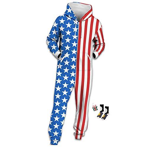 Morbuy Herren Jumpsuit Jogger, Unisex Herren Kapuzenpullover Strampelanzug 3D Printed Onepiece Sweatshirt Männer Strampler Weich Nachtwäsche Fitness Bekleidung (L, Nationalflagge)