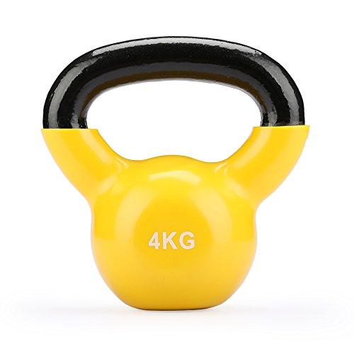 Sfeomi Pesa Rusa de Hierro Fundido 4kg-10kg Kettlebell con Revestimiento de Vinilo Kit de Pesas Rusas para Ejercicios de Fuerza y Cardio