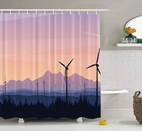 Duschvorhang, klarer Duschvorhang, niedlicher Duschvorhang Landschaft Wind Sonnenuntergang Grüne Energie Zukunft Nachhaltige Energie Badezimmer Set mit Haken Bad Duschvorhang Kleiner Duschvorhang
