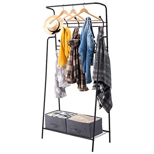 LANGRIA Portant Vêtements Robuste avec Étagère a Chaussures Rangement à Vêtement en Métal avec 18 Crochets pour Manteaux Vestes Foulards, Capacité Totale 90kg (187 x 92 x 40 cm, Noir)