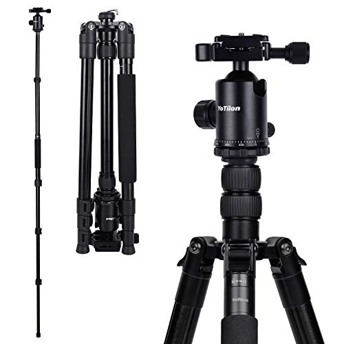 "YoTilon Tripod for Camera, 76"" Aluminum DSLR Camera Tripod Monopod 360 Degree Ball Head with 1/4 Screw Fast Quick Release Plates for Canon Nikon Sony Samsung Olympus Panasonic & Pentax Travel Work"