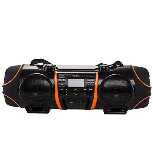 Reflexion CDR-1000BT Stereo-Ghettoblaster mit Bluetooth (CD-Player, USB, MP3, SD-Kartenleser, UKW-Radio, AUX-In, Kopfhörer, Mikrofon- und Gitarren-Anschluss, Fernbedienung, Batteriebetrieb) schwarz