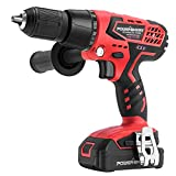 Cordless Drill - PowerSmart 20V Hammer Drill Driver with Max 525 in-lbs Torque, 0-1600 RPM Variable Speed, 1/2 Inch Chuck for Home Improvement