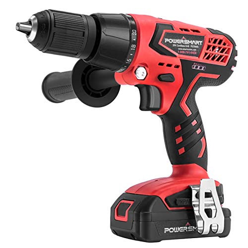 20V Cordless Drill - Impact Drill with 1/2 Inch Chuck, 525 in-lbs Torque, 21+3 Clutch, 1.5Ah Li-Ion Battery & Charger | PowerSmart Hammer Drill Driver in One
