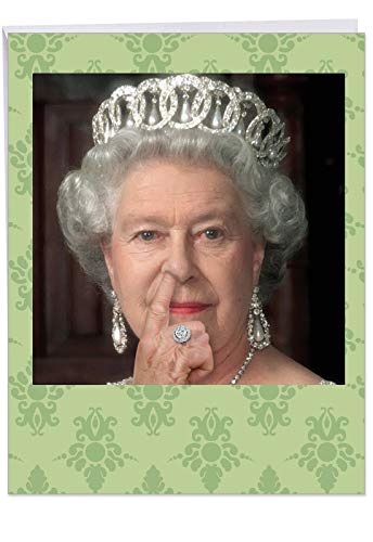 Hilarious 'Large Queen Picks Her Nose' Birthday Greeting Card with Envelope (Large 8.5 x 11 Inch) - Her Royal Highness Picking Her Nose As A Birthday Card - Bday Appreciation Gift J8082