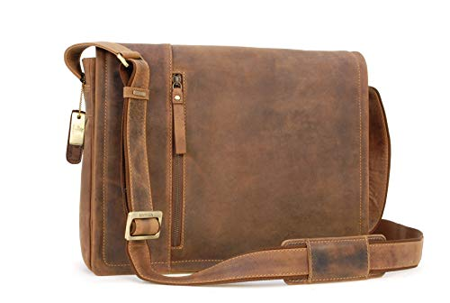 VISCONTI - Laptop Case Messenger Bag - Sultry Distressed Leather - Removable Padded Laptop Cover/Shoulder/Cross Body/Hardwearing/Work Bag/Business/Office - 16072 - Foster - Oil Tan