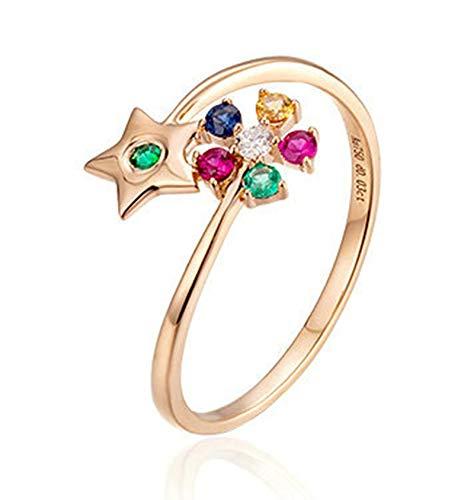 Clavie Wedding Ring 18K Rose Gold Pentacle Flower 0.03ct Diamond Ruby Sapphire Tsavorite Size H 1/2