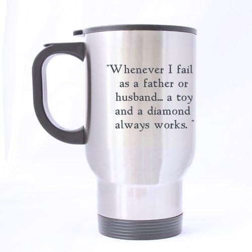 Taza de viaje de 100% acero inoxidable de 14 onzas para el día del padre, padre o padre/papá con texto en inglés 'Always works' para té/café/vino, taza de viaje de 14 onzas