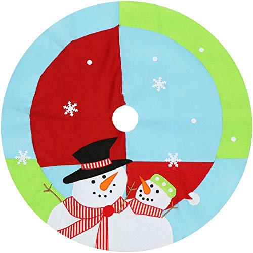 com-four® Christbaumdecke Ø 100 cm - Weihnachtsbaum Unterlage mit weihnachtlichem Motiv - Weihnachtsbaum Teppich rund - Weihnachtsbaum Rock (Ø 100cm - Schneemann)